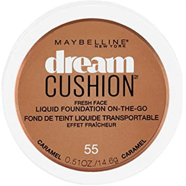 Maybelline Dream Cushion Fresh Face Liquid Foundation, Caramel 55, 0.51 oz.