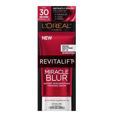 L'Oreal Paris Skincare Revitalift Miracle Blur Instant Skin Smoother Primer, Facial Cream with SPF 30 Sunscreen, Face Moisturizer, 1.18 fl. oz.