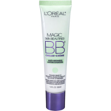 L'Oreal Paris Makeup Magic Skin Beautifier BB Cream Tinted Moisturizer Face Makeup, Anti-Redness, Green, 1 fl. oz.