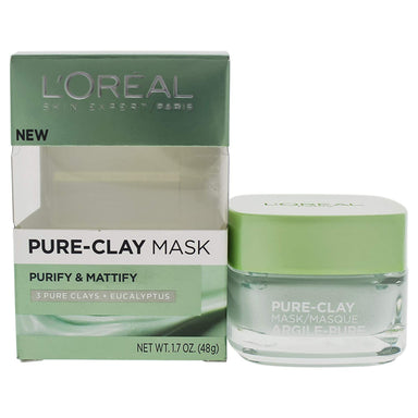 L'OrÃal Paris Skincare Pure-Clay Face Mask with Eucalyptus for Oily and Shiny Skin to Purify and Matify, 1.7 Ounce
