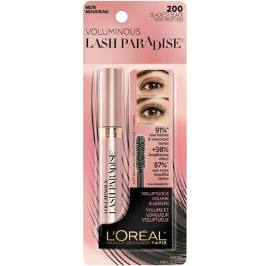 L'Oreal Paris Makeup Lash Paradise Mascara, Voluptuous Volume, Intense Length, 200 Blackest Black