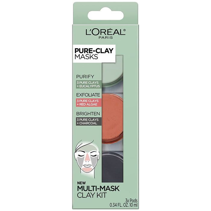 L'oreal Paris Pure-clay Trial Kit With 3 Clay Face Mask, 3 Count