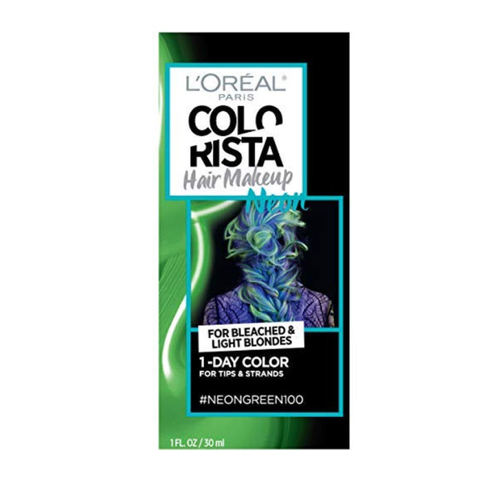 L'oreal Paris Hair Color Colorista Makeup 1-day for Brunettes/Black Hair, Neon Green 100, 1 Fluid Ounce