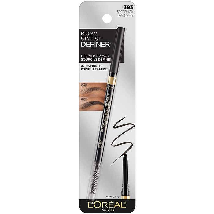 L'Oreal Paris Eyebrow Pencil Brow Stylist Definer, Soft Black, 0.9 Grams