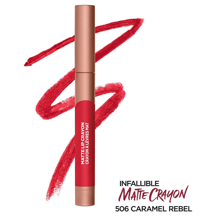 L'Oreal Paris Infallible Matte Lip Crayon, Caramel Rebel 506, 3.6 Grams