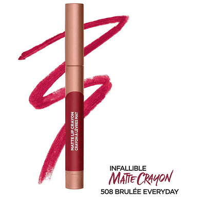 L'Oreal Paris Infallible Matte Lip Crayon, Brulee Everyday 508, 3.6 Grams
