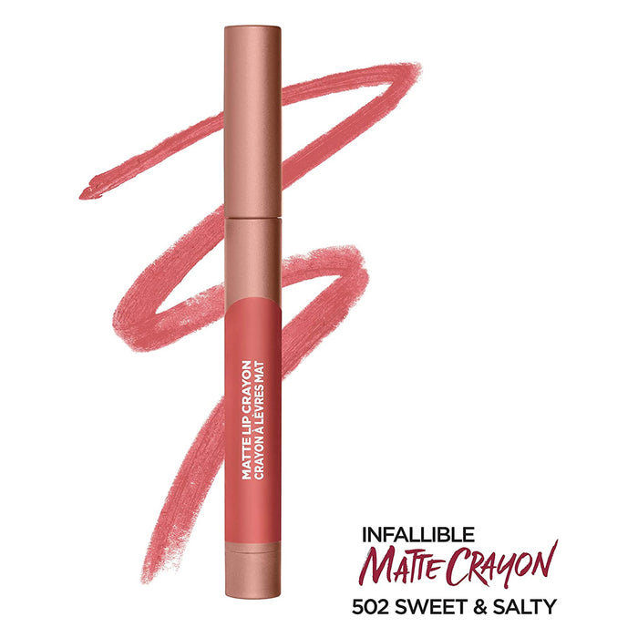 L'Oreal Paris Infallible Matte Lip Crayon, Sweet & Salty 502, 3.6 Grams