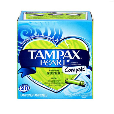 Tampax Compak Pearl Super Absorbancy Plastic Tampons - 20 ct