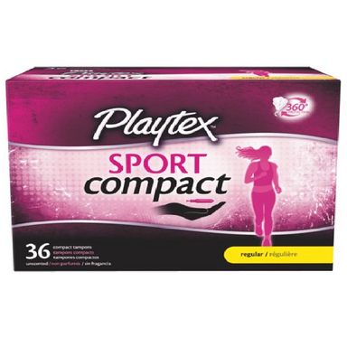Playtex Sport Compact, 36 Compact Unscented Tampons, Regular
