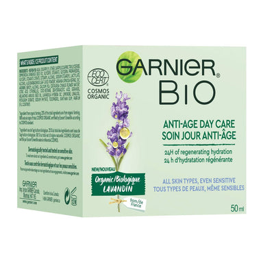 Garnier Bio Organic Face Moisturizer, Lavandin Anti Age for All Skin Types and Sensitive, 50 Milliliters