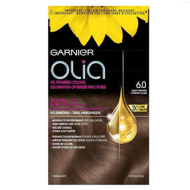 Garnier Olia Hair Color in 6.0 Light Brown. Ammonia-Free, Oil-Powered, 3x Shine
