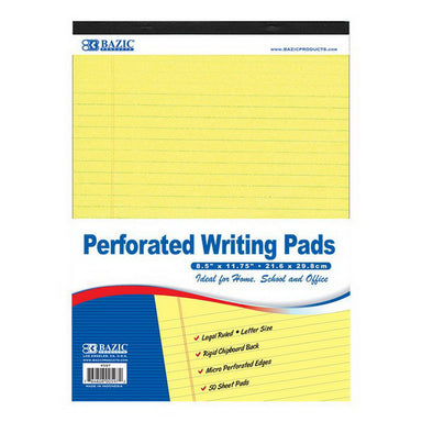 "Bazic #597 50 Ct. 8.5"" X 11.75"" Canary Perforated Writing Pad"