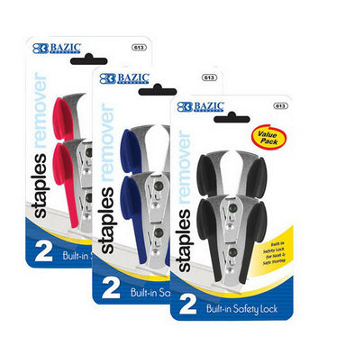 Bazic #613 Claw Style Staples Remover W/ Safety Lock 2Pk