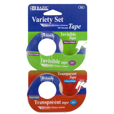 "Bazic #900 3/4"" X 600"" Invisible & Transparent Tape Variety Set 2Pk"