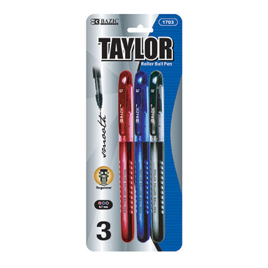 Bazic #1703 Taylor Assorted Color Rollerball Pen 3Pk