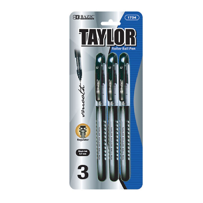 Bazic #1704 Taylor Black Color Rollerball Pen 3Pk