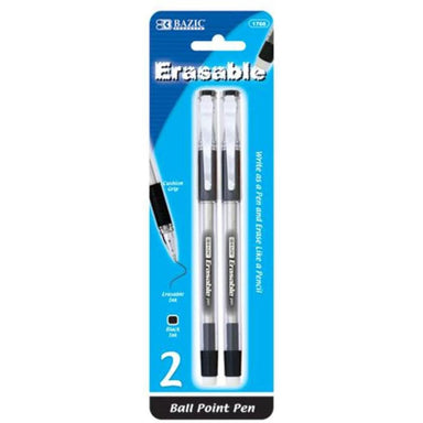 Bazic #1766 Erasable Ball Point Pen, Black Ink, 2PK