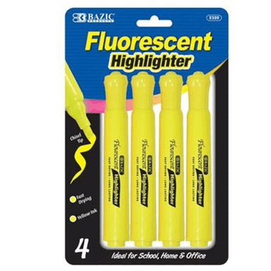 Bazic #2320 Yellow Desk Style Fluorescent Highlighters 3Pk