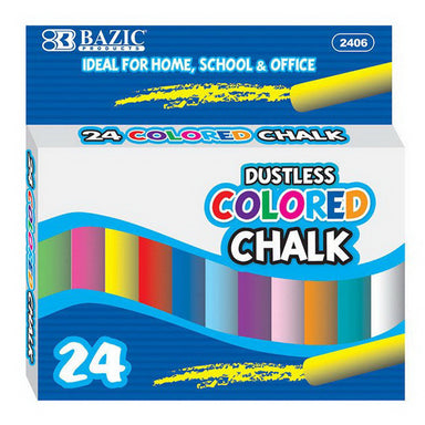 Bazic #2406 Dustless Assorted Color Chalk (24/Box)