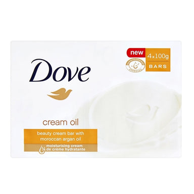 Dove Beauty Bar Soap 4Ct X 100G Creme Oil W/ Moroccan Argon Oil