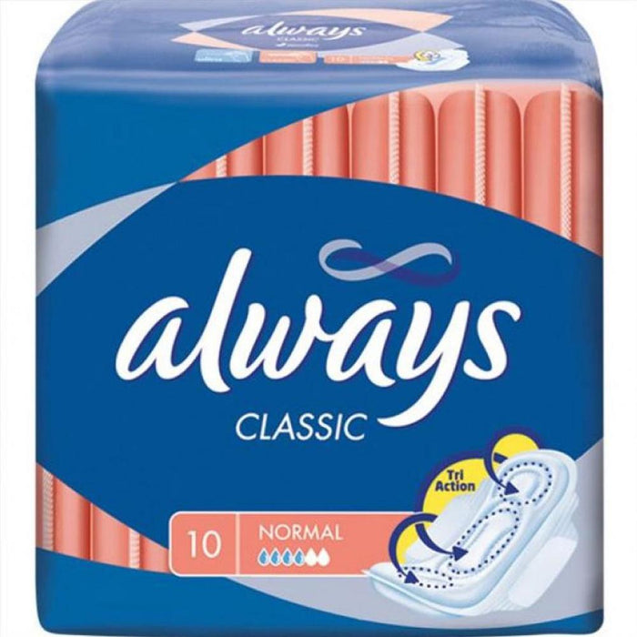 Feminine Care - Always Classic With Wings, Normal, 10-Count