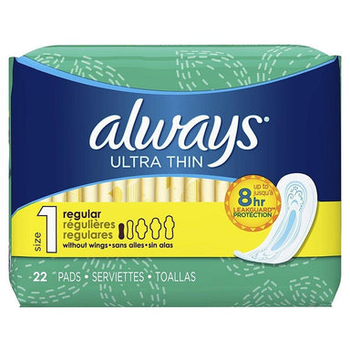 Feminine Care - Always Ultra Thin Pads Regular, Size 1, Unscented, 22 Pads