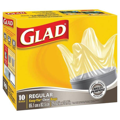 Garbage Bags - GLAD Easy-Tie Clear Garbage Bags, 10-count