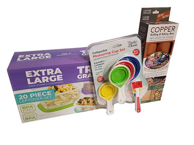 Kitchen Kit bundle, Food storage containers, Measuring cups, Grilling & baking matts