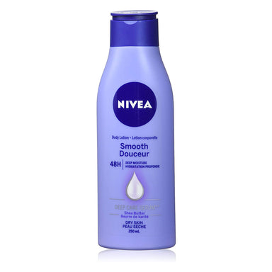 NIVEA Smooth Body Lotion 250ml, Moisturizer Enriched with Shea Butter, Moisturizing Cream for Noticeably Smoother Skin Lasting 48H