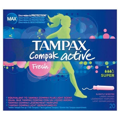 Tampax Compak Active Tampons, Fresh, Super, 20-Count