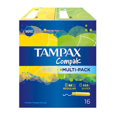 Tampax Compak Multi-Pack, 8 Super, 8 Regular, 16-Count