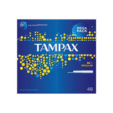 Tampax Unscented Tampons Mega Pack, Regular, 48-Count