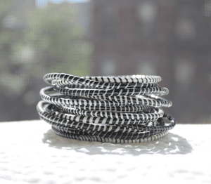 Classic Black & White Recycled Bangle Bracelets Bracelets DoubleHighFive