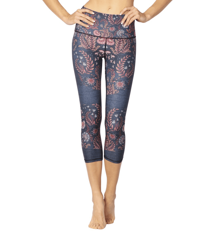 Festival Denim Floral Crops Leggings Yoga Democracy Extra Small Cropped