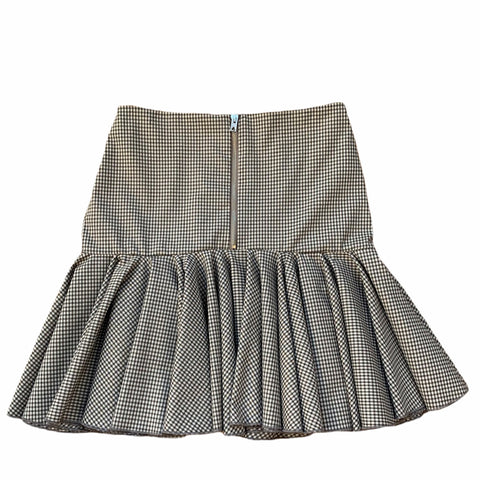 Grey Check High Waisted Pleat Skirt