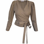 V-Neck Celeste Blouse with Obi belt