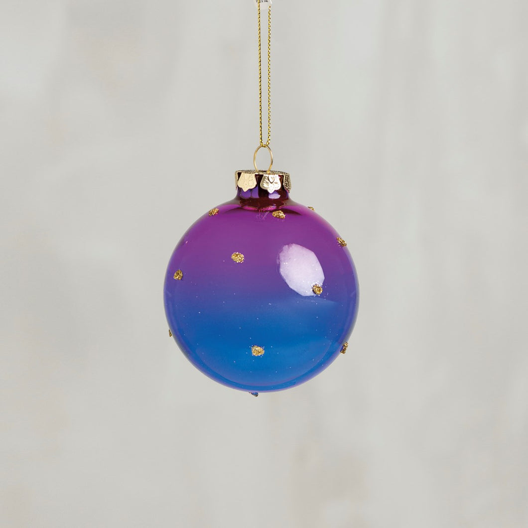 Purple Blue Ombre Glass Ornament