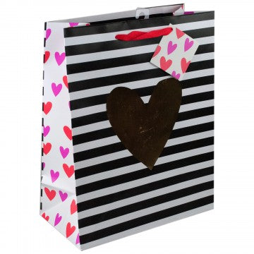 Gold Heart Striped Bag - Large