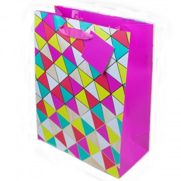Bright Geo Print Gift Bag - Large