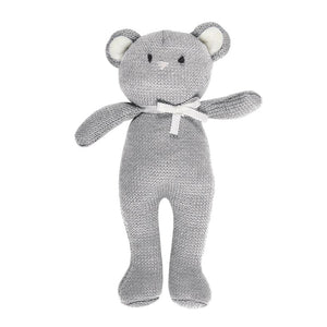 Knit Baby Toy Rattle Gift - Grey Bear