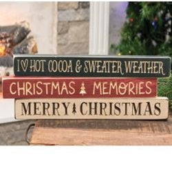 Cocoa & Sweater Weather - Engraved Wood Sign Block