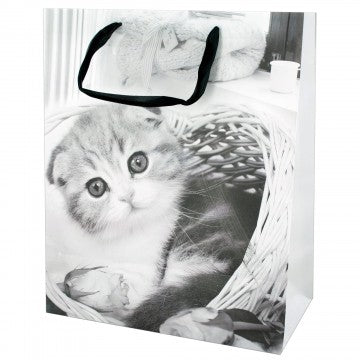 Puppies and Kittens Gift Bag - Large - Black & White