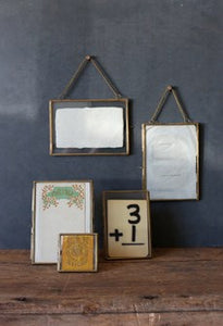 "Hanging Brass Picture Frame, 5""x7"" double sided"