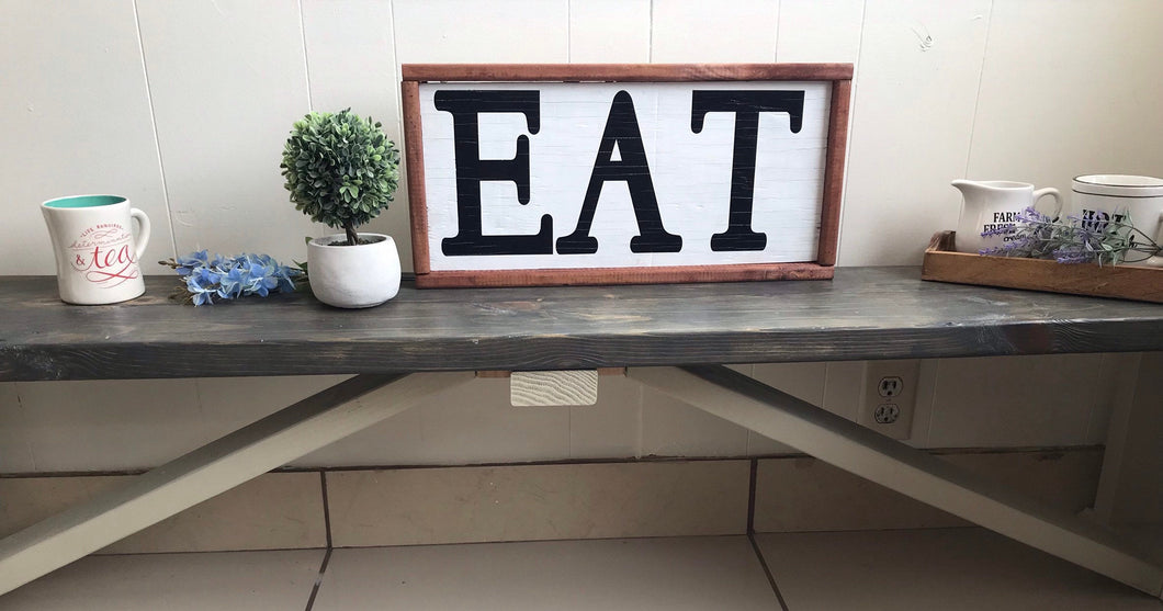 EAT, farmhouse kitchen framed wood sign