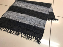 Load image into Gallery viewer, Striped leather chindi rug, black and grey