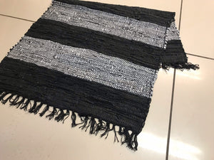 Striped leather chindi rug, black and grey