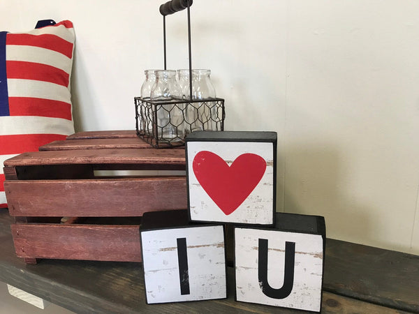 Love, I love U block decor, set of 3