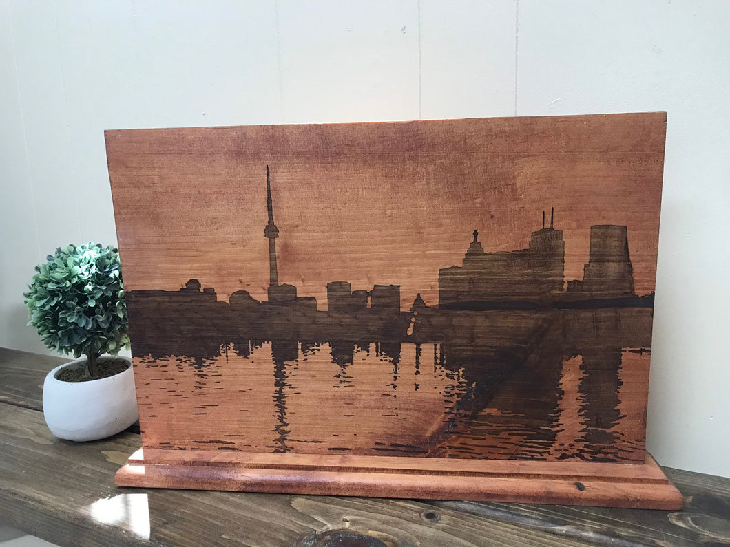 Toronto, wood stained art