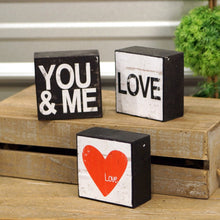 Load image into Gallery viewer, Love, you and me, block decor, set of 3