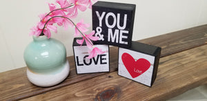 Love, you and me, block decor, set of 3